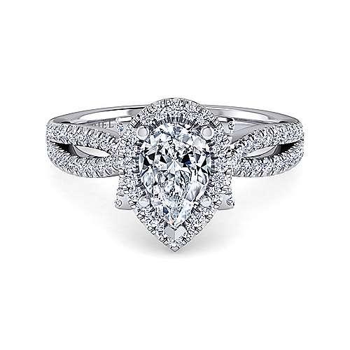 Platinum Pear Shape Halo Engagement Ring angle 1