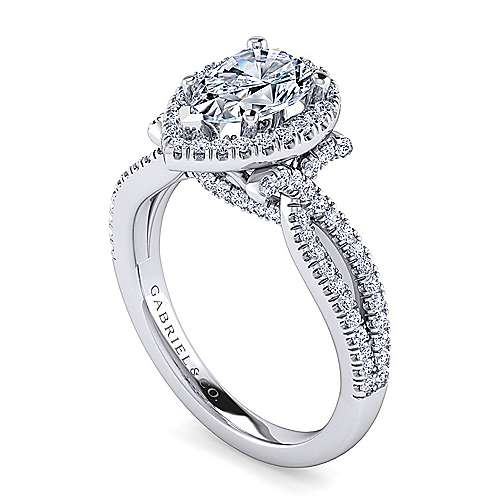Platinum Pear Shape Halo Engagement Ring angle 3