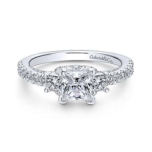 Gabriel - Platinum Princess Cut 3 Stones Engagement Ring