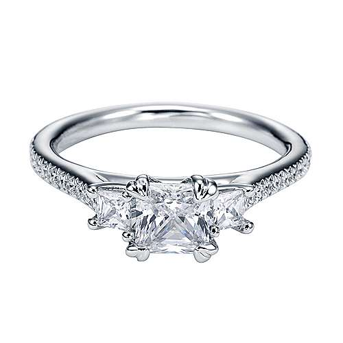 Platinum Princess Cut 3 Stones Engagement Ring angle 1