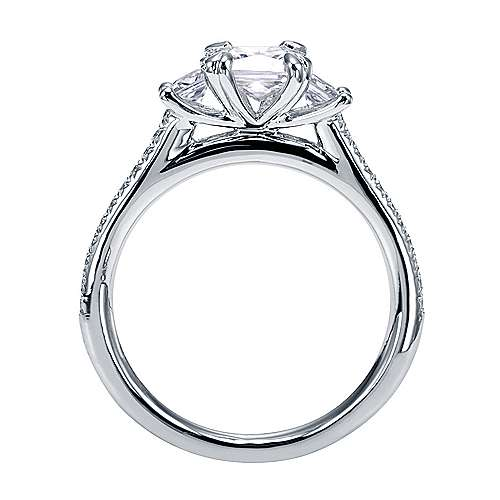 Platinum Princess Cut 3 Stones Engagement Ring angle 2