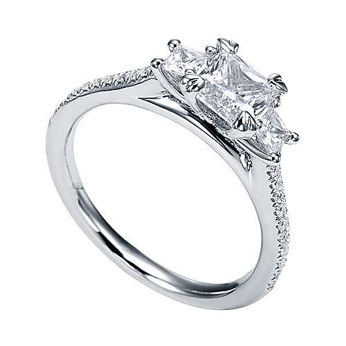 Platinum Princess Cut 3 Stones Engagement Ring angle 3
