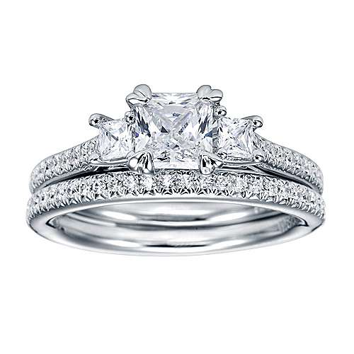 Platinum Princess Cut 3 Stones Engagement Ring angle 4