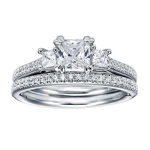 Platinum Princess Cut 3 Stones Engagement Ring angle 4
