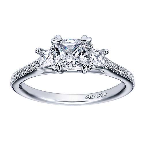 Platinum Princess Cut 3 Stones Engagement Ring angle 5