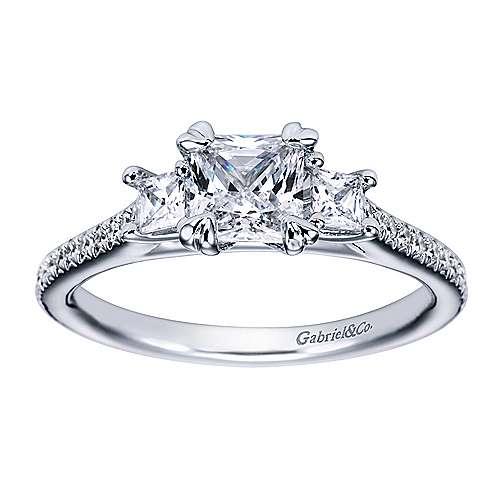 Platinum Princess Cut 3 Stones Engagement Ring angle 5