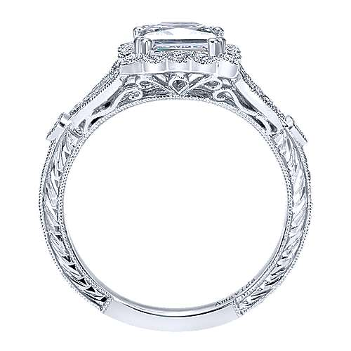 Platinum Princess Cut Halo Engagement Ring angle 2