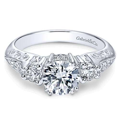 Gabriel - Platinum Round 3 Stones Engagement Ring