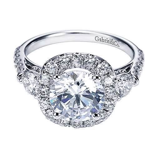 Gabriel - Platinum Round 3 Stones Halo Engagement Ring