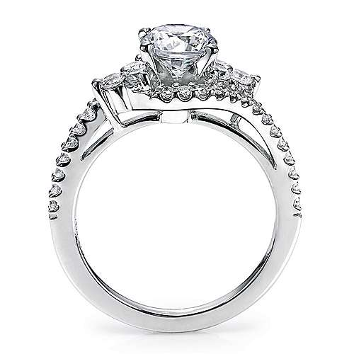 Platinum Round Bypass Engagement Ring angle 2
