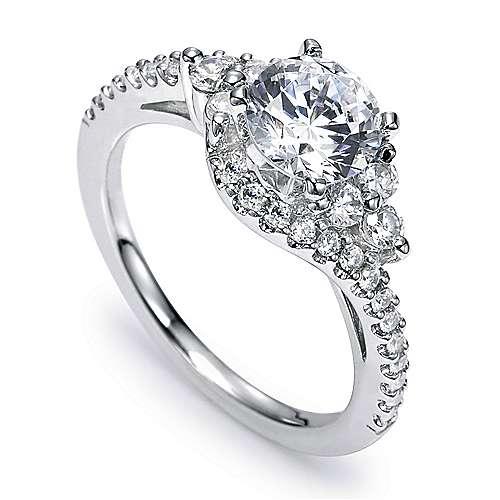Platinum Round Bypass Engagement Ring angle 3