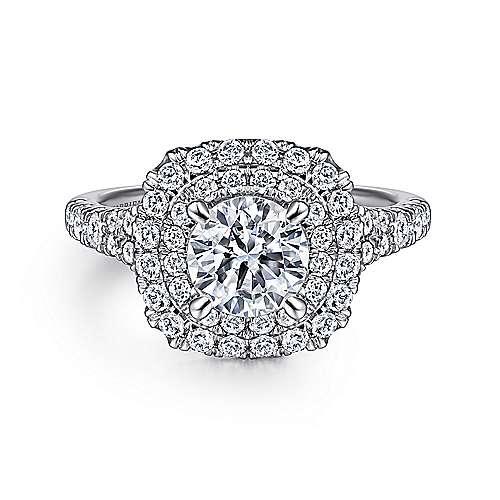 Gabriel - Platinum Round Double Halo Engagement Ring
