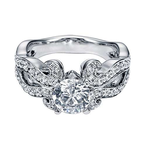 Platinum Round Free Form Engagement Ring angle 1
