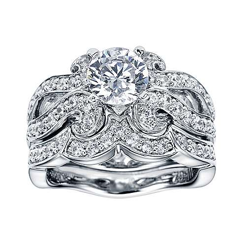 Platinum Round Free Form Engagement Ring angle 4
