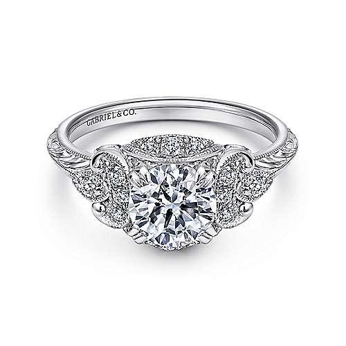 Platinum Round Halo Engagement Ring angle 1