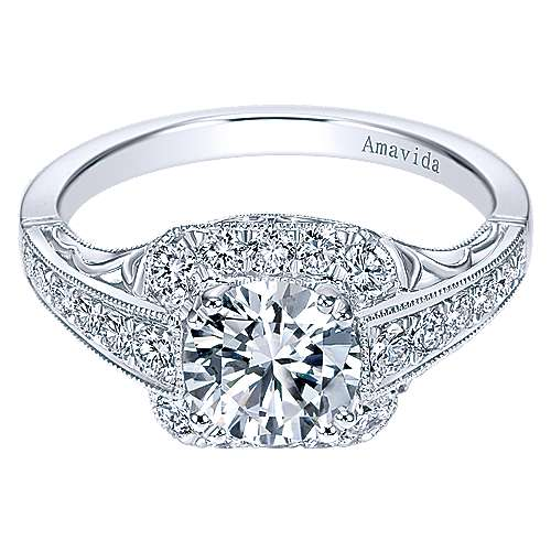 Platinum Round Halo Engagement Ring angle 1