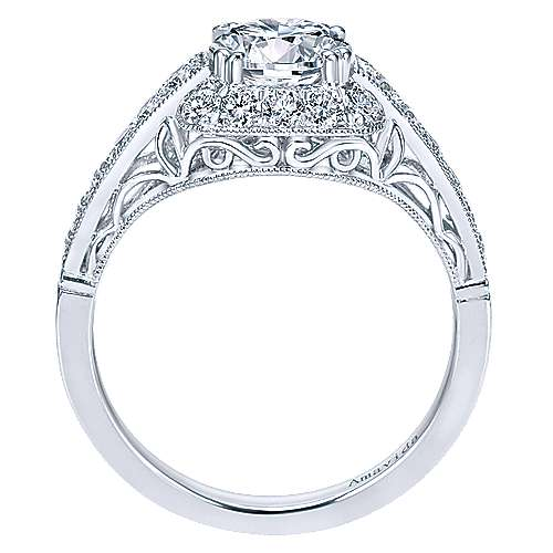 Platinum Round Halo Engagement Ring angle 2