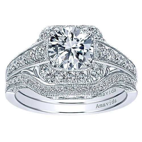 Platinum Round Halo Engagement Ring angle 4