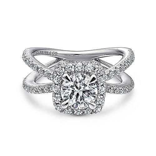 Gabriel - Platinum Round Split Shank Engagement Ring