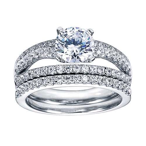 Platinum Round Split Shank Engagement Ring angle 4