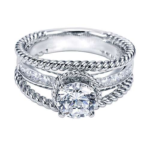 Platinum Round Split Shank Engagement Ring angle 1