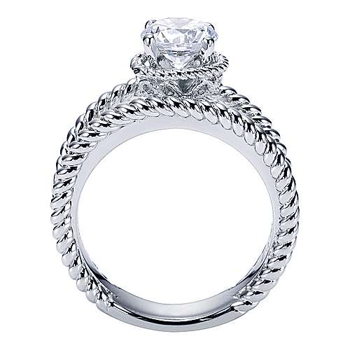 Platinum Round Split Shank Engagement Ring angle 2