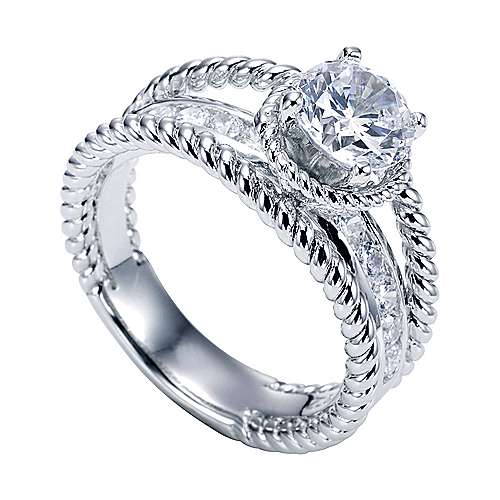 Platinum Round Split Shank Engagement Ring angle 3