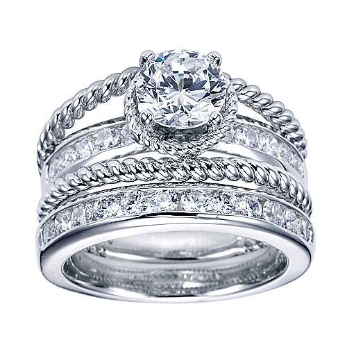 Platinum Round Split Shank Engagement Ring angle 4