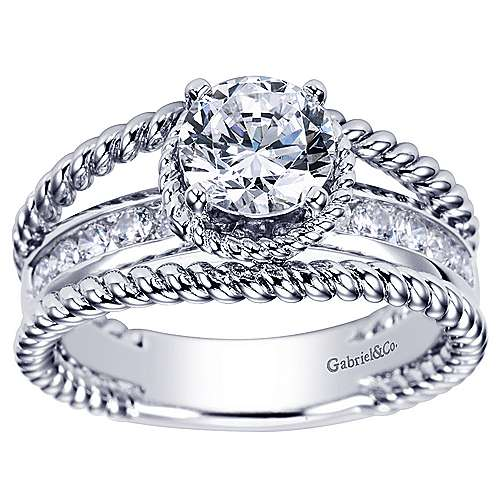 Platinum Round Split Shank Engagement Ring angle 5