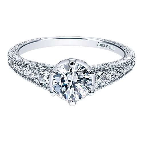 Platinum Round Straight Engagement Ring angle 1