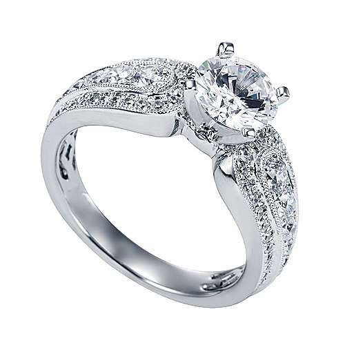 Platinum Round Straight Engagement Ring angle 3