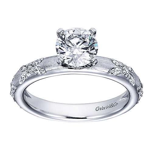 Platinum Round Straight Engagement Ring angle 5