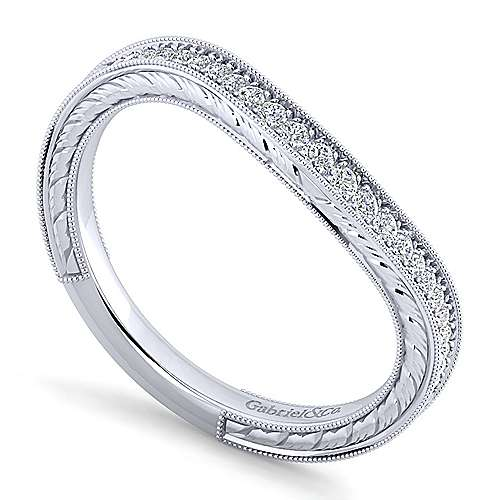Platinum Victorian Curved Wedding Band angle 3