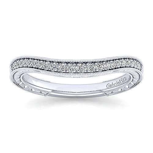 Platinum Victorian Curved Wedding Band angle 5