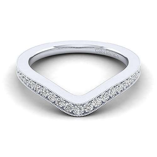Platinum Victorian Curved Wedding Band angle 1