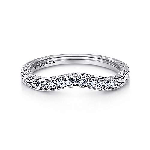 Platinum Victorian Curved Wedding Band angle 1