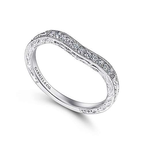 Platinum Victorian Curved Wedding Band angle 3
