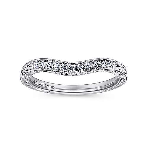 Platinum Victorian Curved Wedding Band angle 5