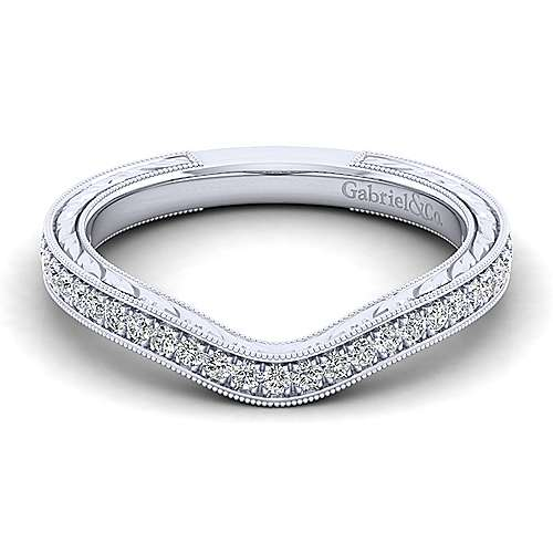Platinum Victorian Straight Wedding Band angle 1
