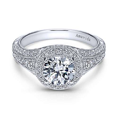 Gabriel - Poet Platinum Round Halo Engagement Ring