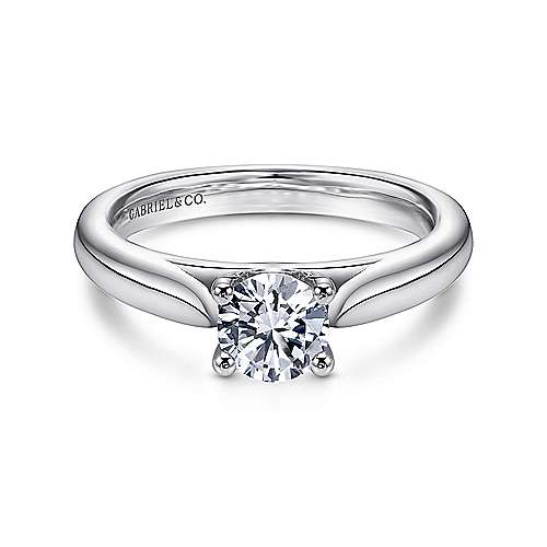 Gabriel - Polly 14k White Gold Round Solitaire Engagement Ring