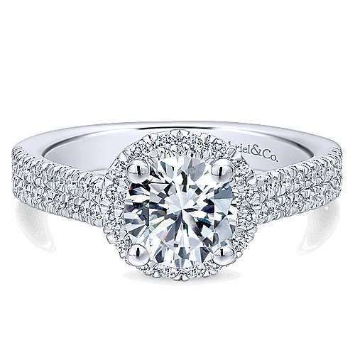 Gabriel - Poppy 14k White Gold Round Halo Engagement Ring