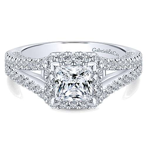 Porto 14k White Gold Princess Cut Halo Engagement Ring angle 1