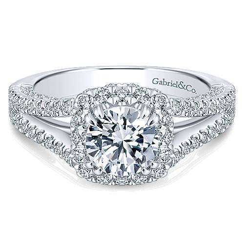 Gabriel - Porto 14k White Gold Round Halo Engagement Ring