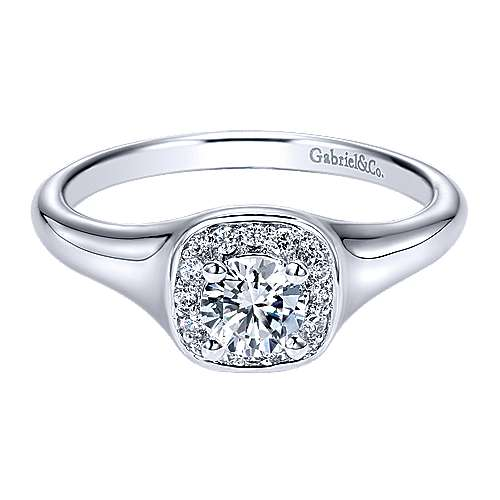 Gabriel - Pose 14k White Gold Round Halo Engagement Ring
