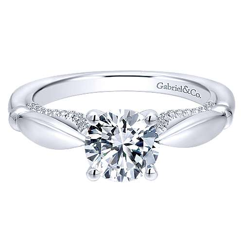 Gabriel - Posy 14k White Gold Round Straight Engagement Ring