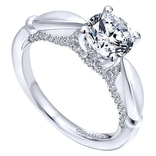 Posy 14k White Gold Round Straight Engagement Ring angle 3