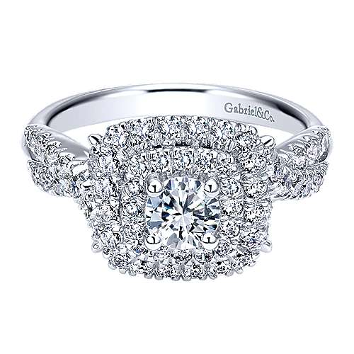 Gabriel - Precious 14k White Gold Round Double Halo Engagement Ring