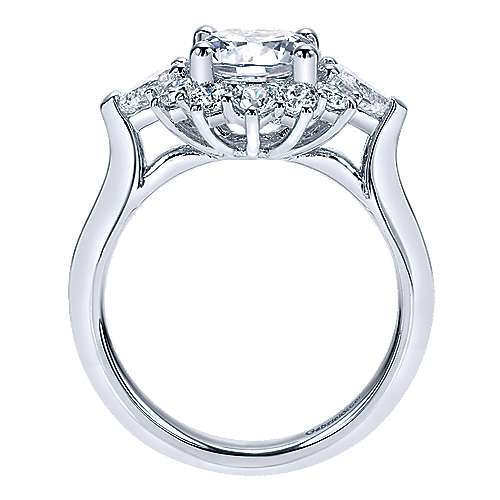 Preeti 18k White Gold Round Halo Engagement Ring angle 2
