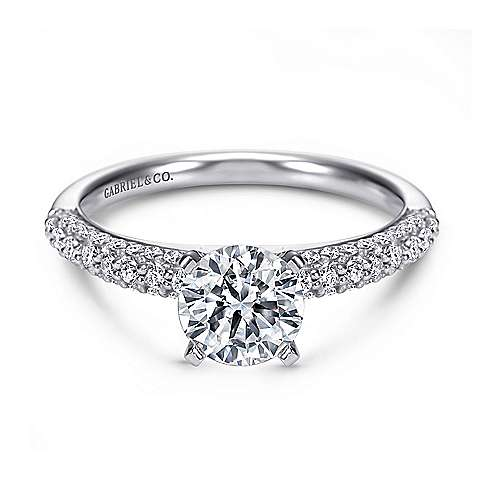 Gabriel - Preston 14k White Gold Round Straight Engagement Ring